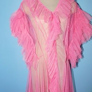 Bright Pink Sheer Mesh Maxi Top